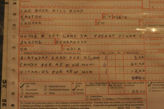 Postal label: Birthday card for 95 yr old Mom; candy for 95 yr old Mom; vitamins for 95 yr old Mom