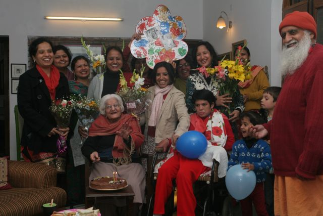 Elderly woman's birthday party - group shot