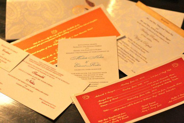 An array of wedding invitation cards