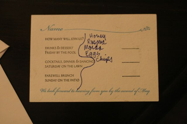 A wedding response card with a grocery list penned into its design