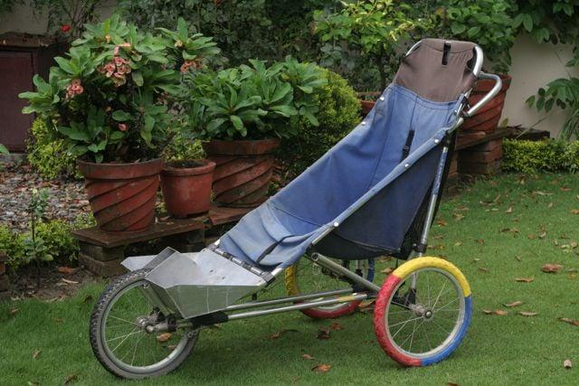 Blue jogger stroller in a green garden
