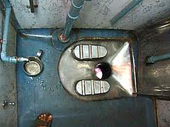 Aerial view of an Indian-style toilet in an Indian train