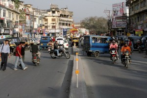 Chaotic traffic scene in India