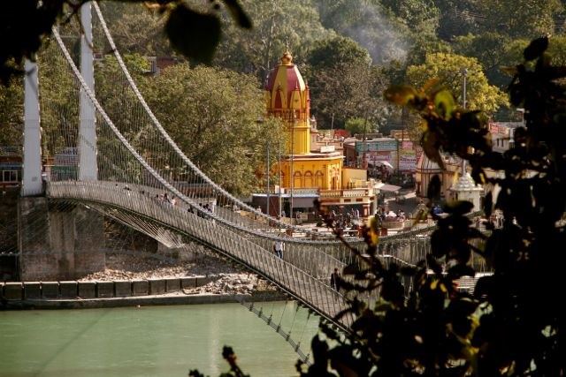 Bridge in foreground; Golden Temple in the back