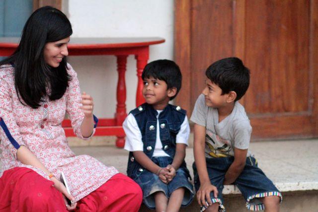 Teacher with two little boys