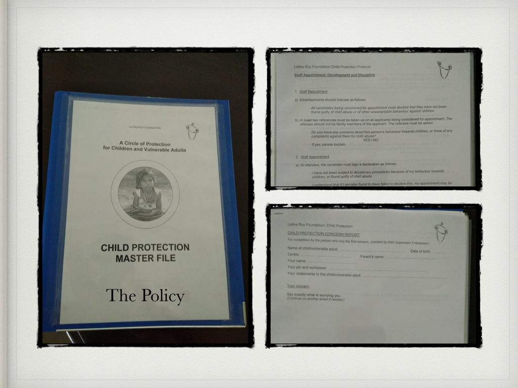 Cover and first few pages of the Child Protection Policy we follow