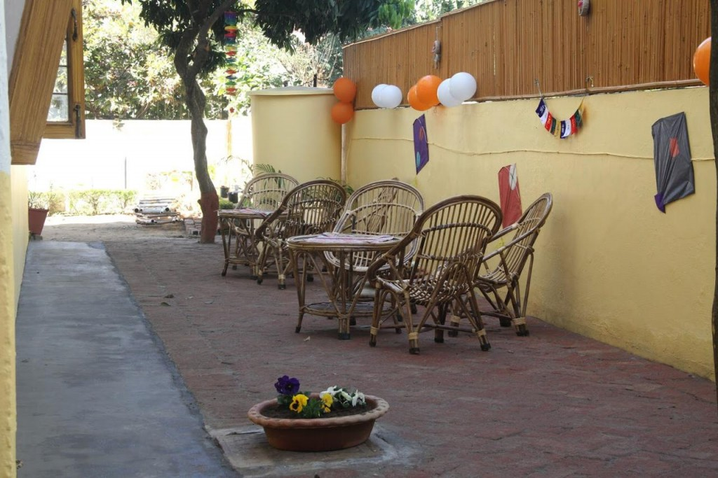 Outdoor cafee with trees, potted plants and wicker tables and chairs