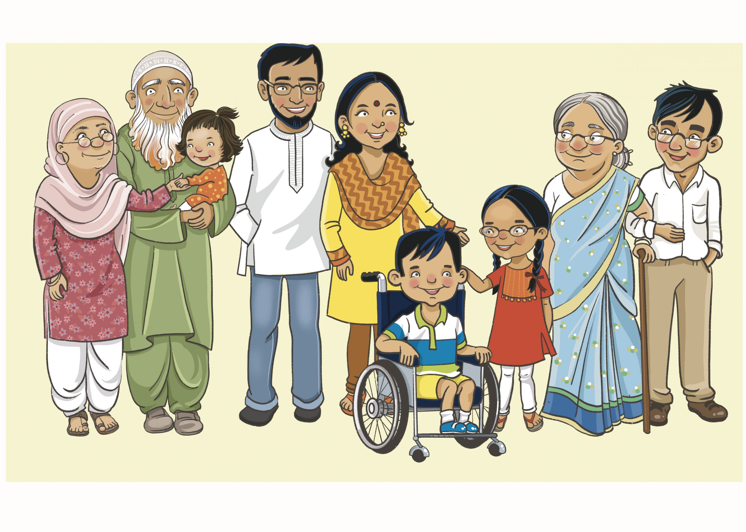 Indian family with parents and three children (one in a wheelchair), two sets of grandparents (one Muslim, one Hindu)