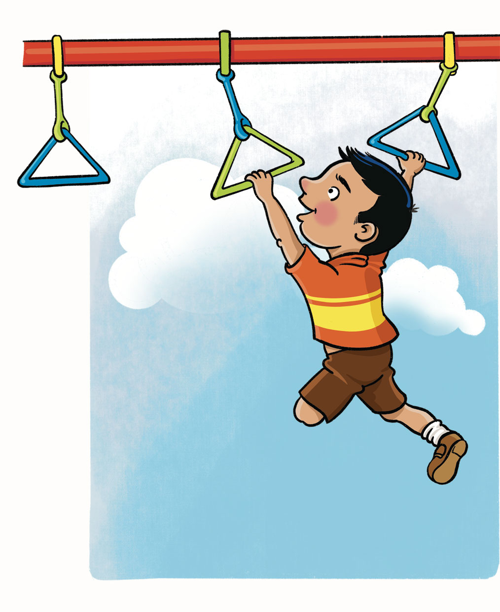 Illustration of a child with one leg amputated at the knee. He is going hand to hand on playground monkeybars.