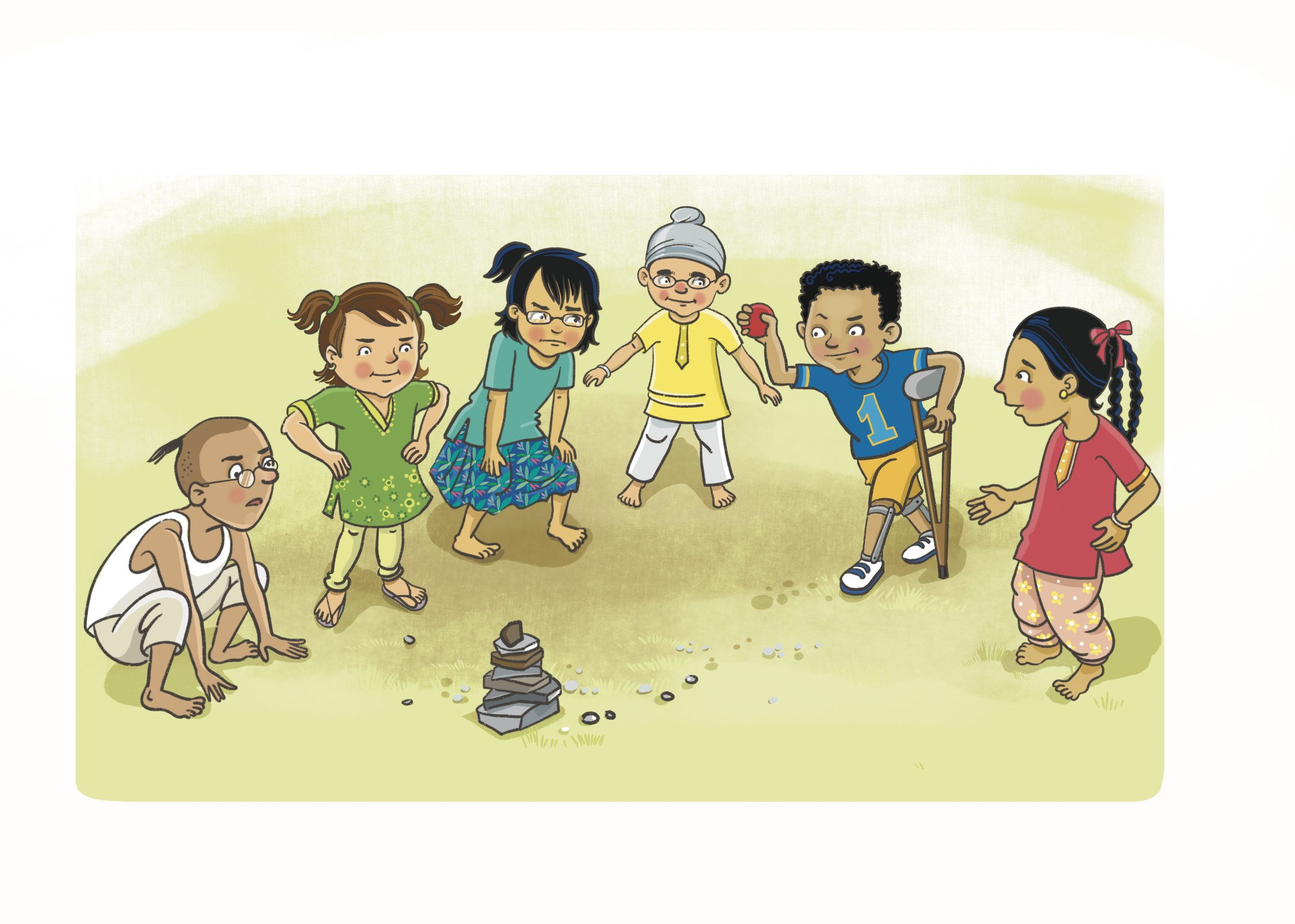 Artist's drawing of Indian children playing a traditional game of seven stones. Girls and boys in different Indian dress. One child is using a crutch.