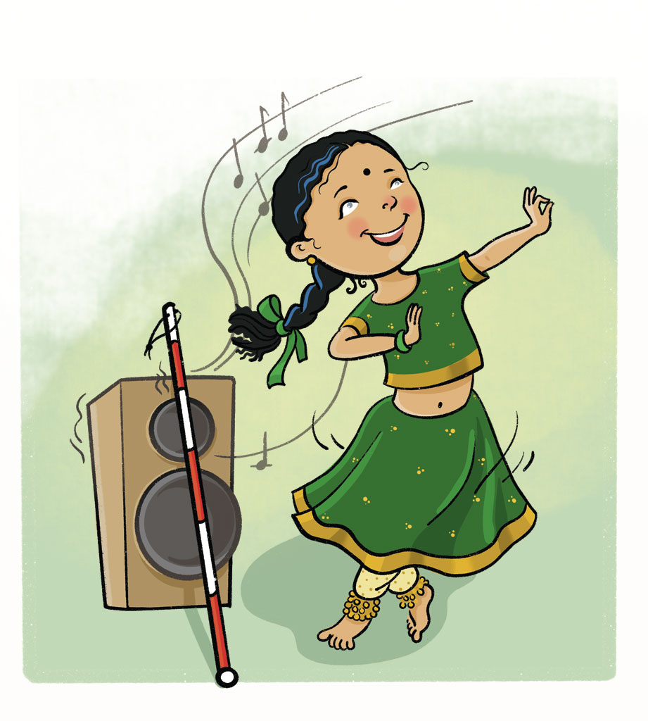 Illustration of an Indian girl in a green lengha (long skirt and bodice) dancing. The child is blind and her white cane is leaning against a large speaker on the floor