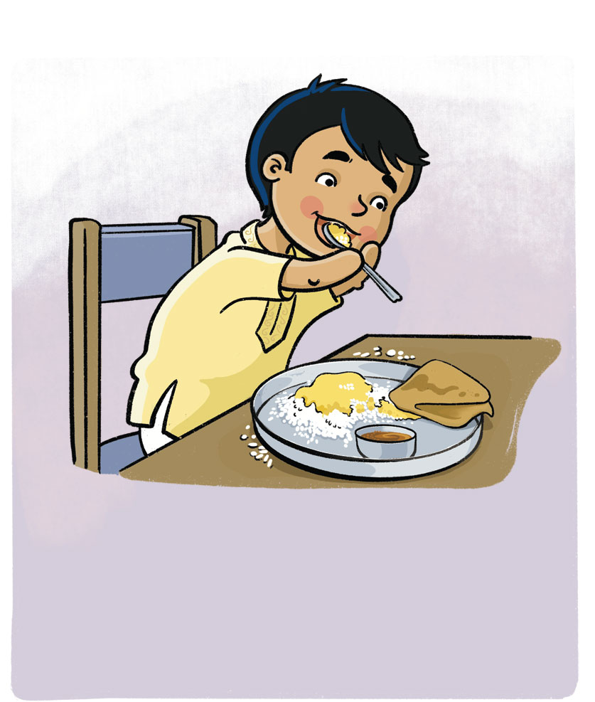 Illustration of a child eating. Child has no hands and is bringing the spoon to his mouth by clutching it in his arms.
