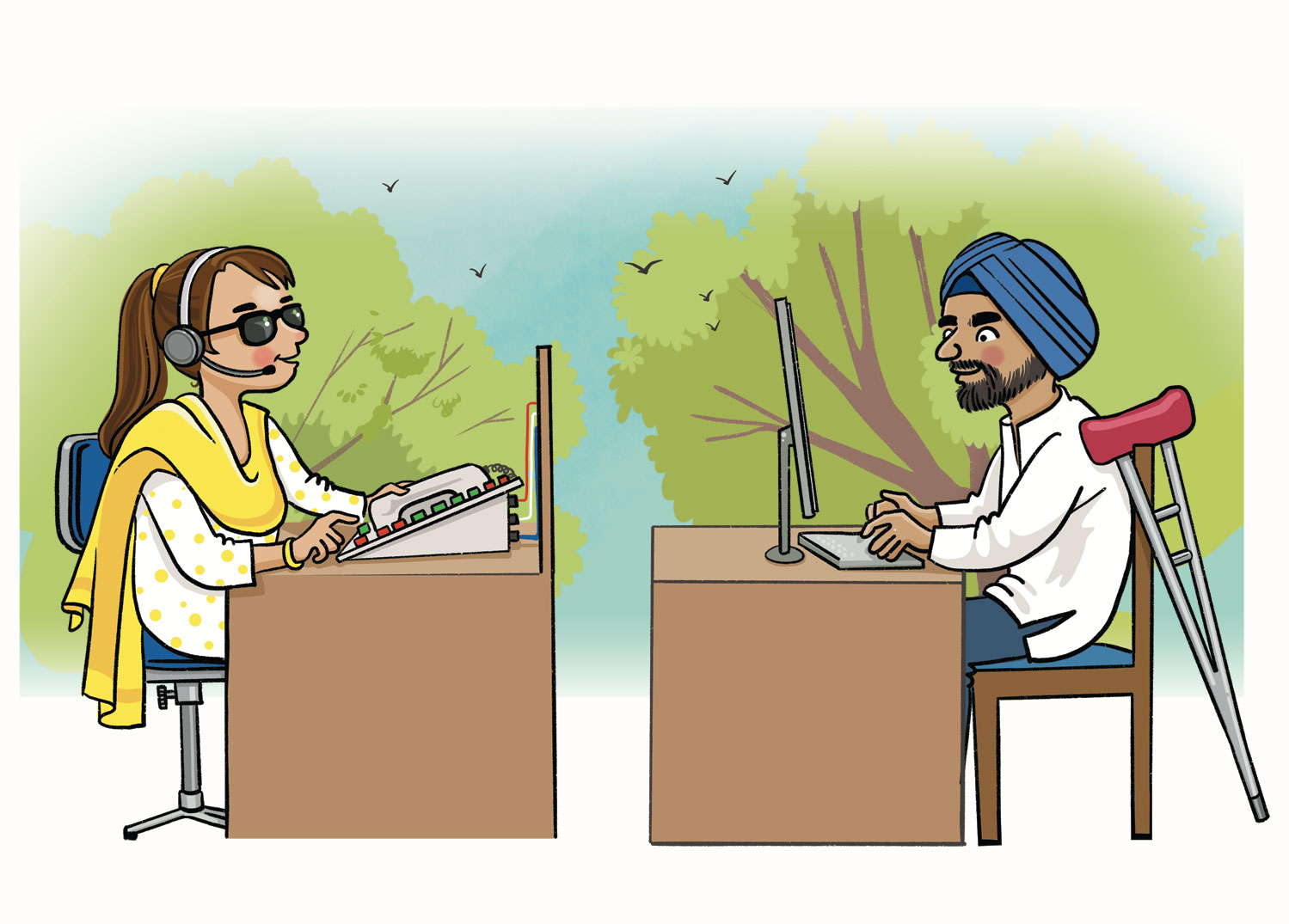 A blind woman in salwar-kameez and a turbaned, bearded man with a crutch working at computers in an office.