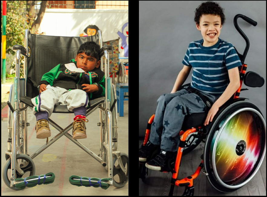 Two boys in wheelchairs. One has a chair that is way too big for him and he is sitting slumped over, looking sad. The other is in a custom-made chair and he looks excited and ready for anything.
